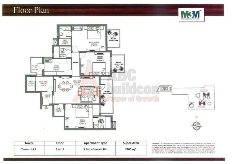 M3M Escala Floor Plan 3 BHK + S.R +Store – 2100 Sq. Ft.