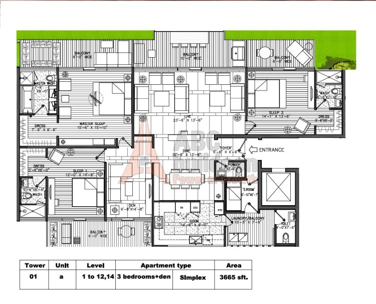 M3M Golf Estate Floor Plan 3 BHK + S.R + F.L – 3665 Sq. Ft.