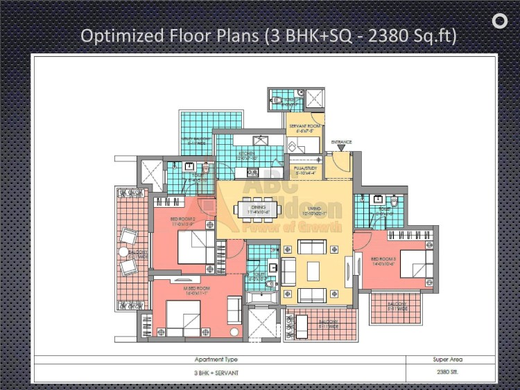 M3M Latitude Floor Plan 3 BHK + Study + S.R – 2380 Sq. Ft.