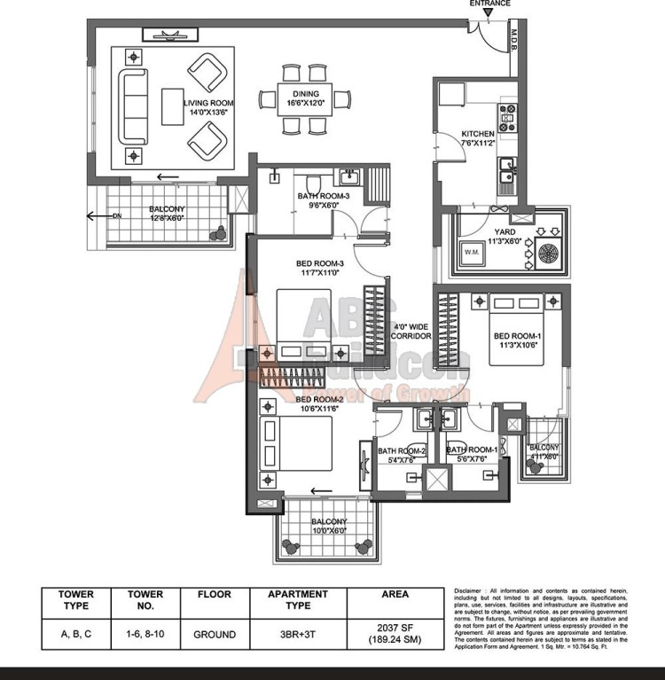 M3M Merlin Floor Plan 3 BHK – 2037 Sq. Ft.