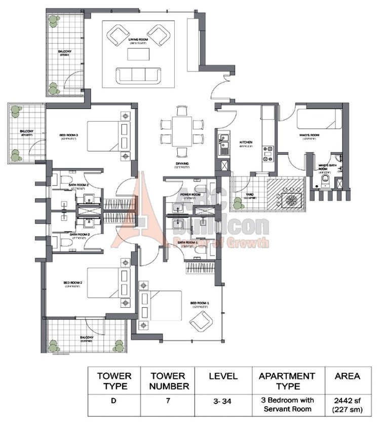 M3M Merlin Floor Plan 3 BHK + S.R – 2442 Sq. Ft.