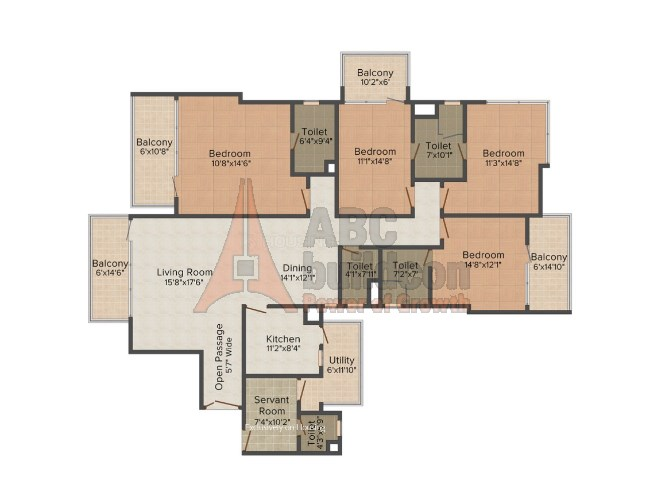 M3M Merlin Floor Plan 4 BHK + S.R – 3160 Sq. Ft.