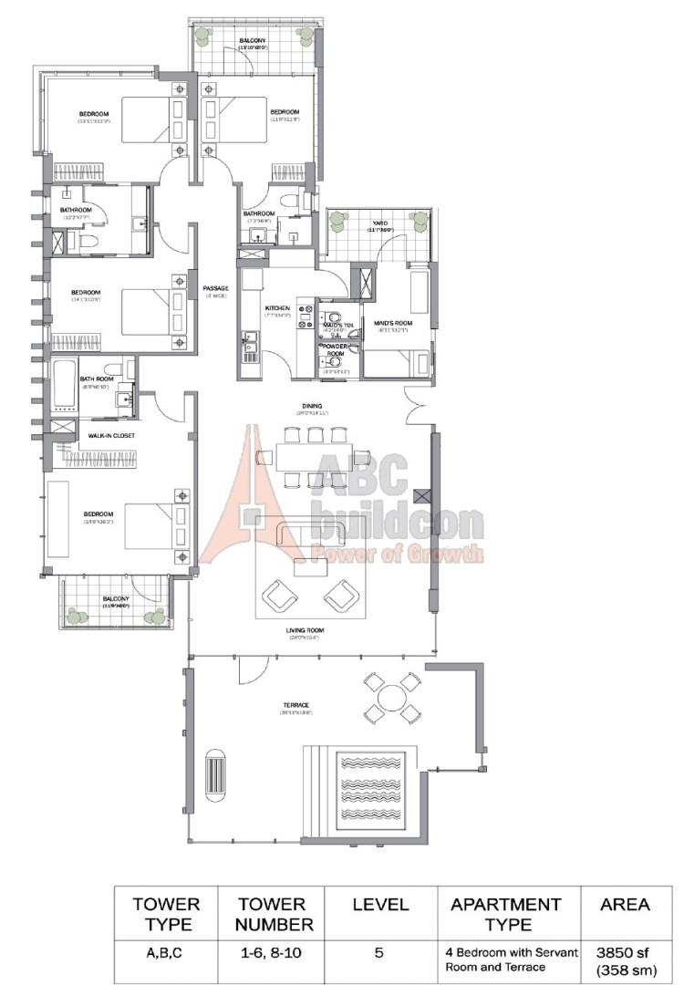 M3M Merlin Floor Plan 4 BHK + S.R + Terrace – 3850 Sq. Ft.