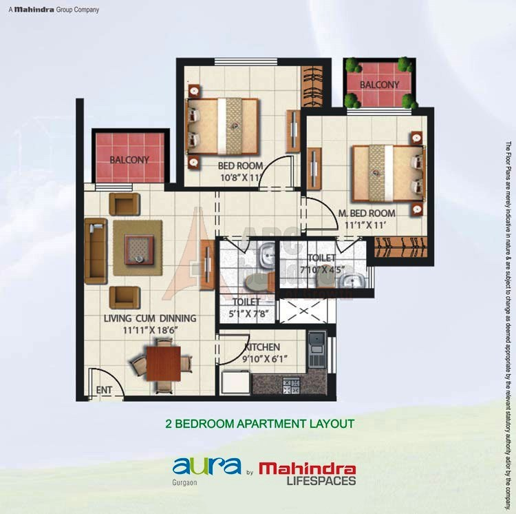 Mahindra Aura Floor Plan 2 BHK – 950 Sq. Ft.