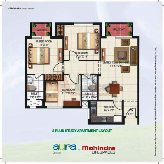 Mahindra Aura Floor Plan 2 BHK + Study – 1150 Sq. Ft.