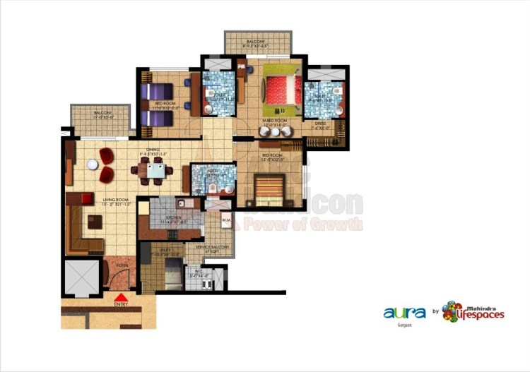 Mahindra Aura Floor Plan 3 BHK + S.R – 1900 Sq. Ft.