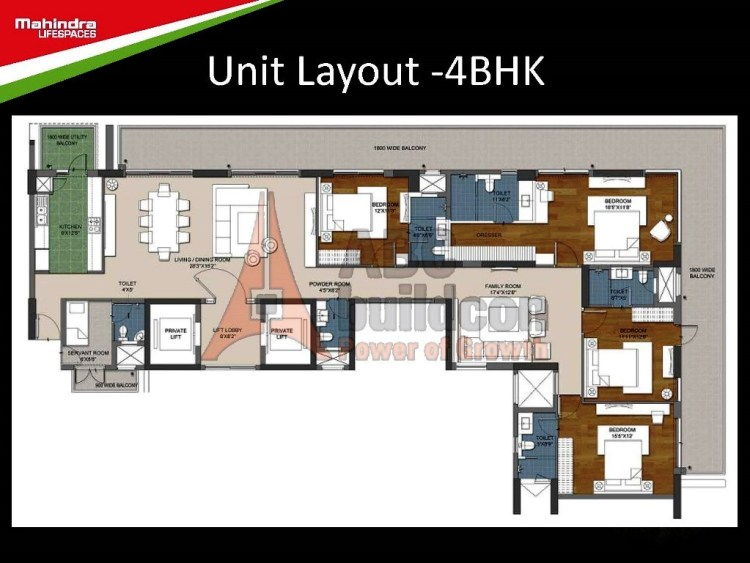 Mahindra Luminare Floor Plan 4 BHK + S.R – 3625 Sq. Ft.