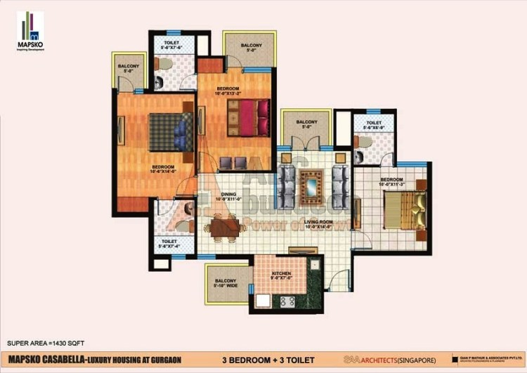 Mapsko Casa Bella Floor Plan 3 BHK – 1430 Sq. Ft.