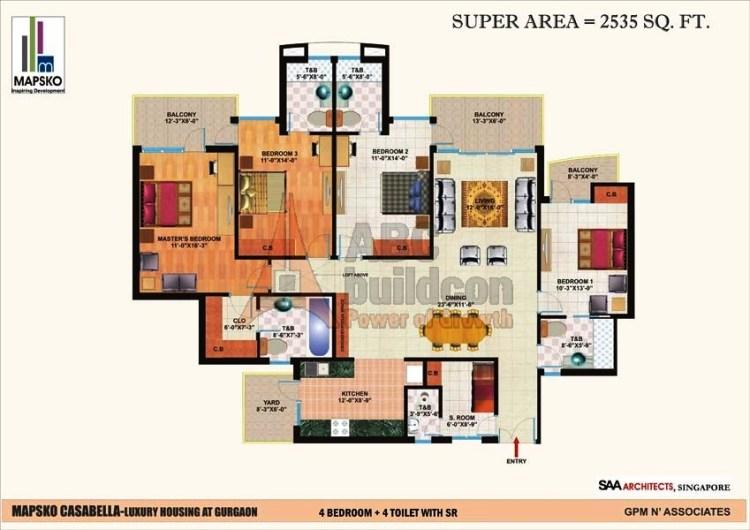 Mapsko Casa Bella Floor Plan 4 BHK + S.R – 2535 Sq. Ft.