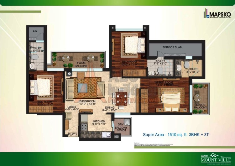 Mapsko Mount Ville Floor Plan 3 BHK – 1510 Sq. Ft.