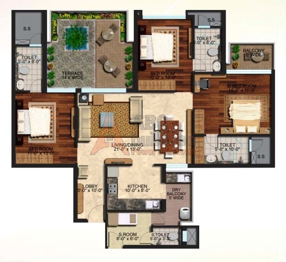 Mapsko Mount Ville Floor Plan 3 BHK + S.R + Terrace – 1960 Sq. Ft.