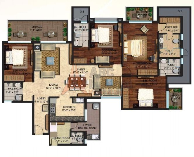 Mapsko Mount Ville Floor Plan 4 BHK + S.R + Terrace – 2710 Sq. Ft.