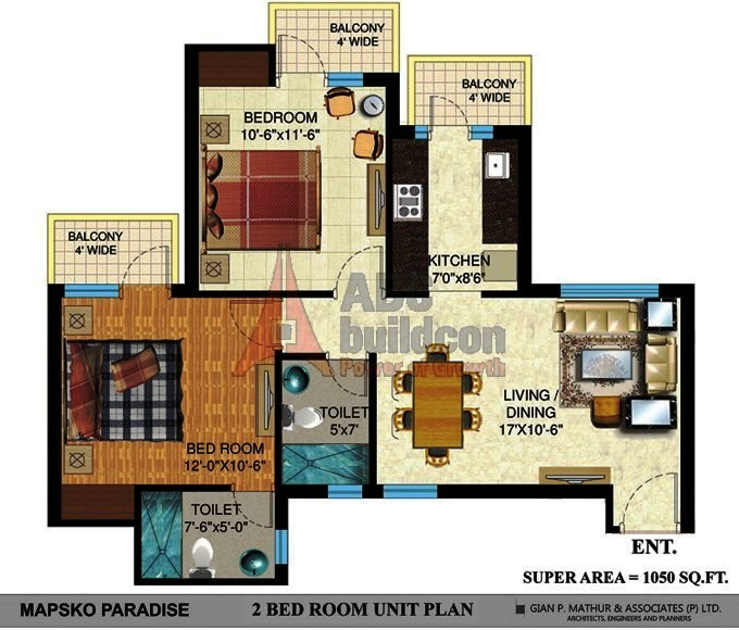 Mapsko Paradise Floor Plan 2 BHK – 1050 Sq. Ft.