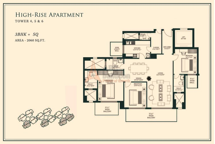 One Indiabulls Gurgaon Floor Plan 3 BHK + S.R– 2060 Sq. Ft.