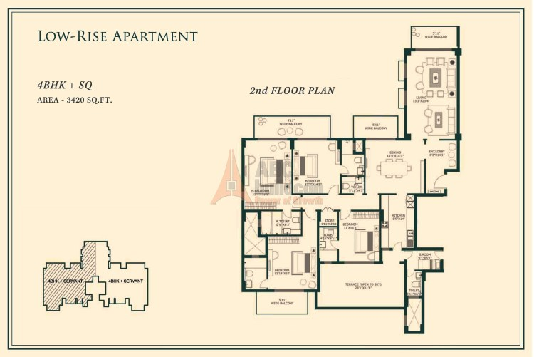 One Indiabulls Gurgaon Floor Plan 4 BHK + S.R– 3420 Sq. Ft.