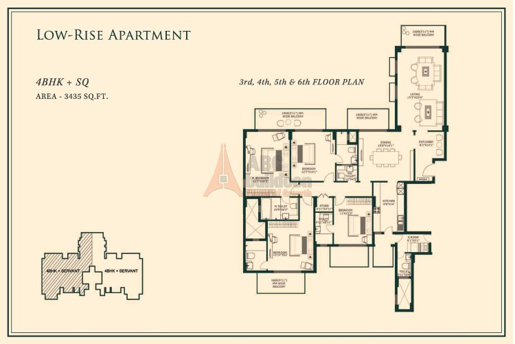 One Indiabulls Gurgaon Floor Plan 4 BHK + S.R + Store – 3435 Sq. Ft.