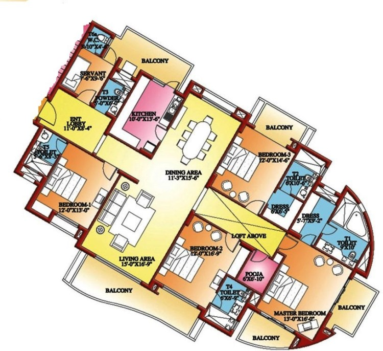 Parsvnath Exotica Floor Plan 4 BHK + S.R + Pooja – 3645 Sq. Ft.