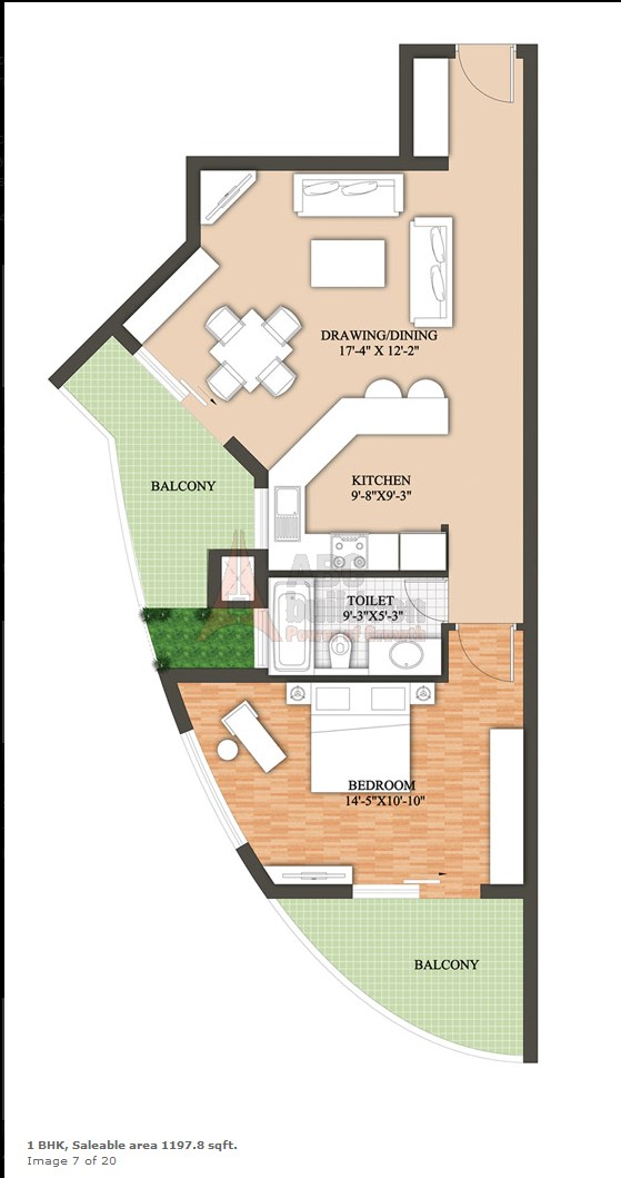 Raheja Revanta Floor Plan 1 BHK – 1197 Sq. Ft.