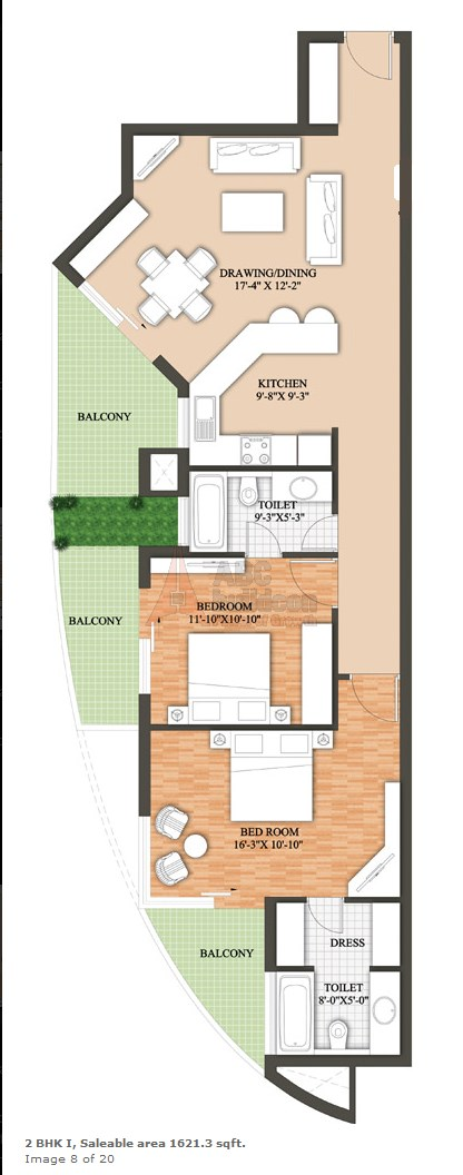 Raheja Revanta Floor Plan 2 BHK – 1621 Sq. Ft.