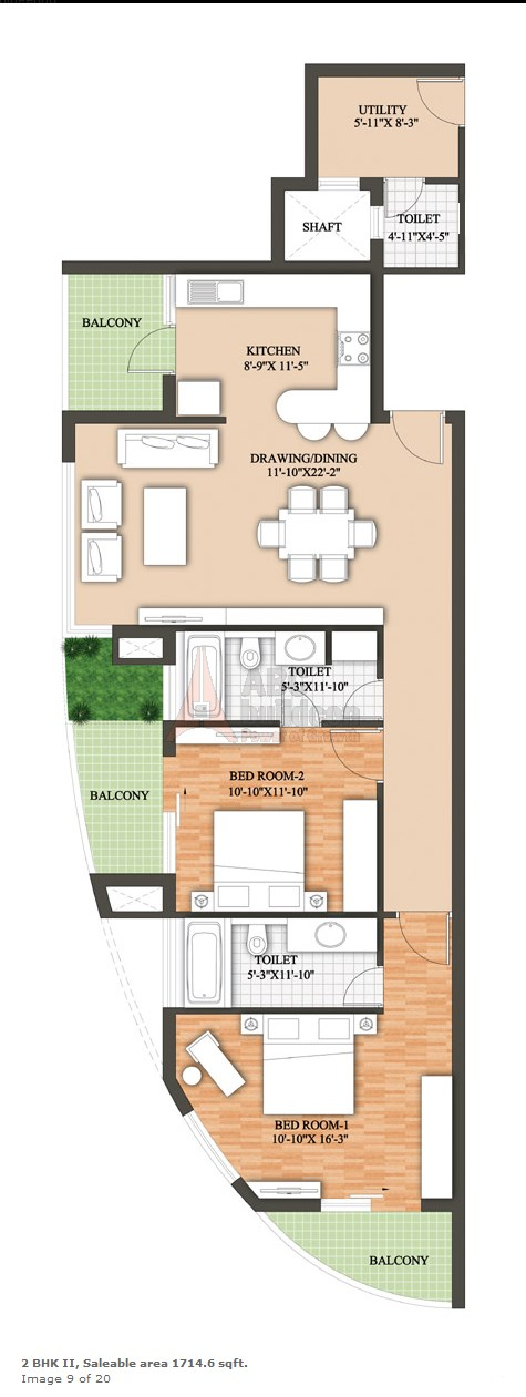 Raheja Revanta Floor Plan 2 BHK + Utility – 1714 Sq. Ft.