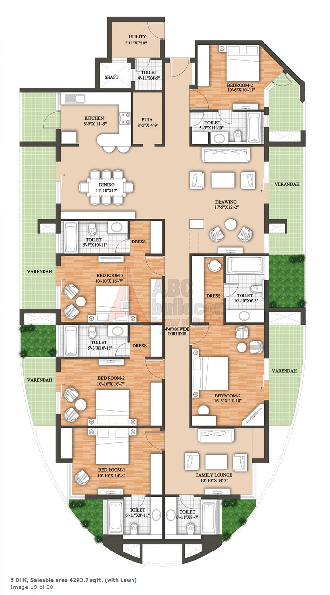 Raheja Revanta Floor Plan 5 BHK + Utility + F.L + Pooja Room – 4293 Sq. Ft.