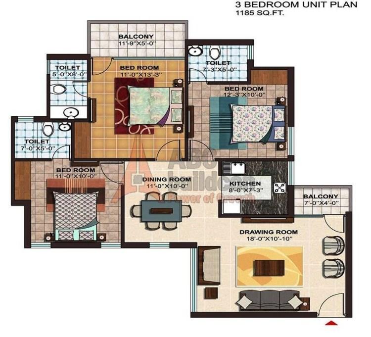 Ramprastha Atrium Floor Plan 3 BHK  – 1185 Sq. Ft.