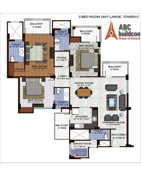 Ramprastha Edge Towers Floor Plan 3 BHK +S.R + Store – 1990 Sq. Ft.