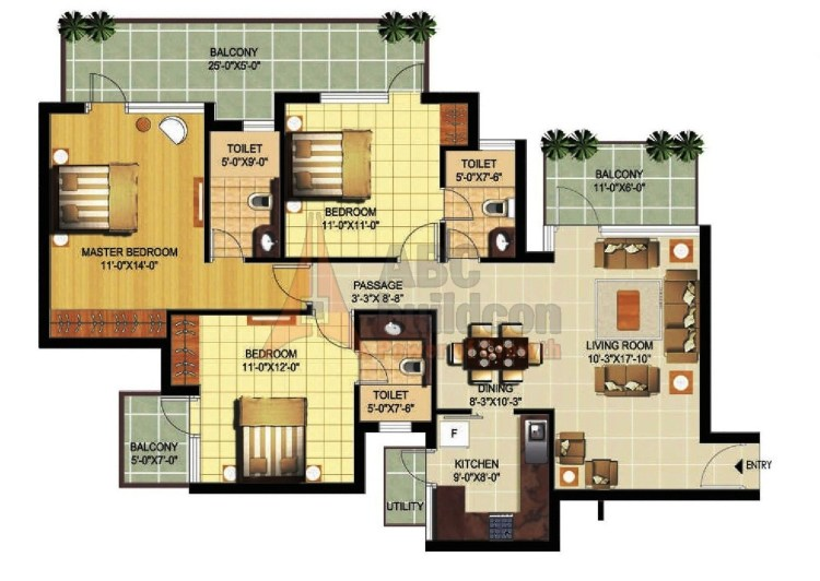 Ramprastha Primera Floor Plan 3 BHK + Store – 1695 Sq. Ft.