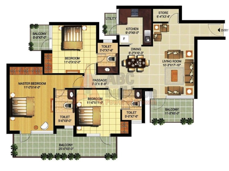 Ramprastha Primera Floor Plan 3 BHK + Store – 1720 Sq. Ft.