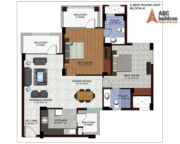 Ramprastha Edge Towers Floor Plan 2 BHK – 1310 Sq. Ft.