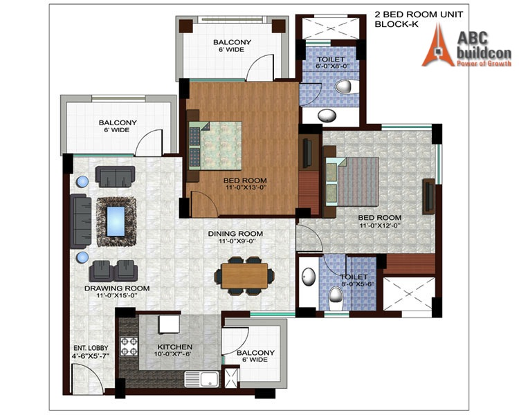 Ramprastha Edge Towers Floor Plan 2 BHK – 1310 Sq. Ft.