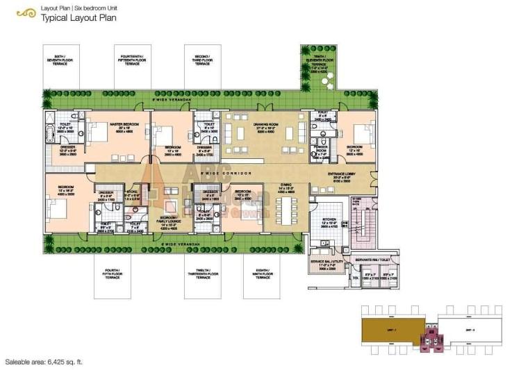 Salcon The Verandas Floor Plan 6 BHK + S.R + Store – 6425 Sq. Ft.