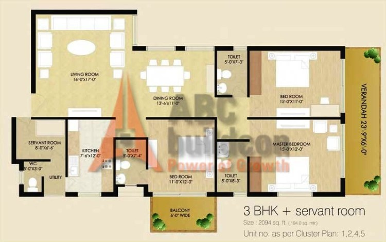 Sare Club Terraces Floor Plan 3 BHK + S.R – 2094 Sq. Ft.