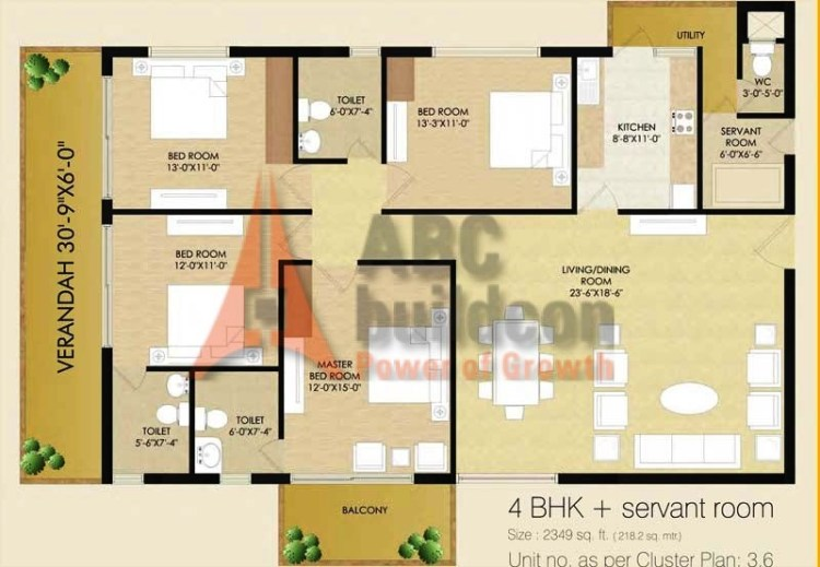 Sare Club Terraces Floor Plan 4 BHK + S.R – 2349 Sq. Ft.