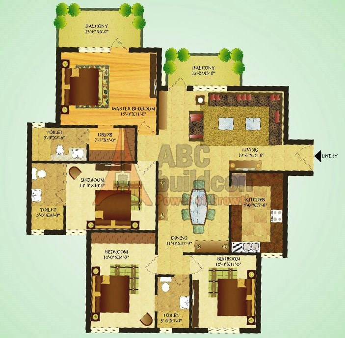 Sare Green Parc Floor Plan 4 BHK – 1712 Sq. Ft.