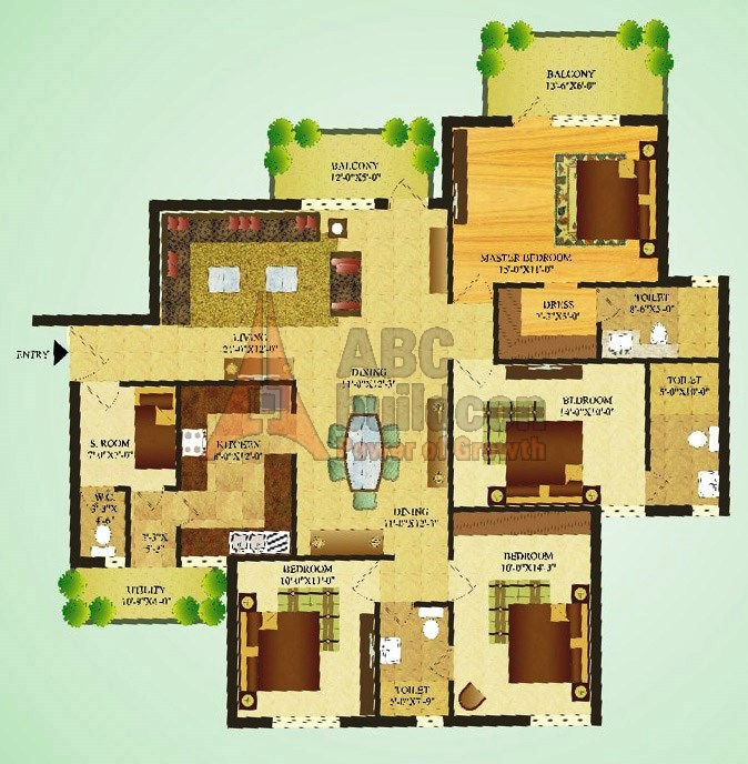 Sare Green Parc Floor Plan 4 BHK + S.R – 1870 Sq. Ft.