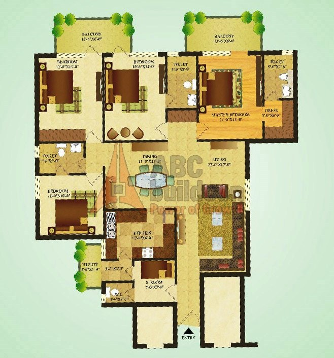 Sare Green Parc Floor Plan 4 BHK + S.R – 1900 Sq. Ft.