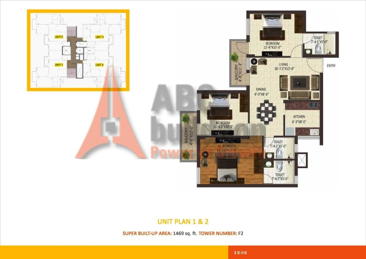 Sare Petioles Floor Plan 3 BHK – 1469 Sq. Ft.