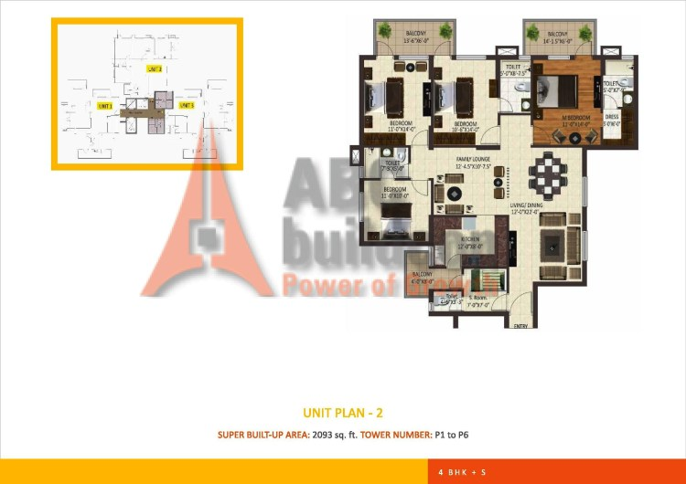 Sare Petioles Floor Plan 3 BHK + S.R + F.L– 2093 Sq. Ft.