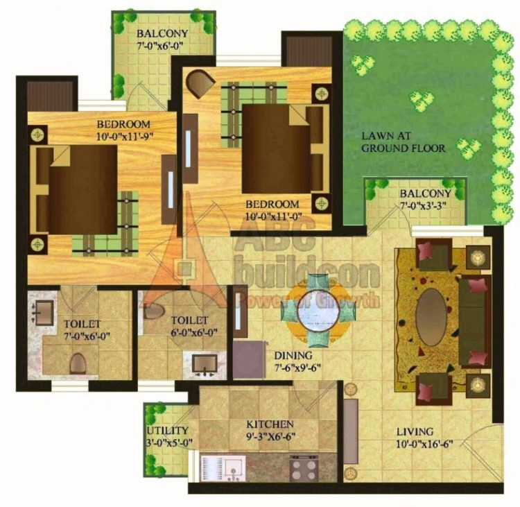 Sare Royal Greens Floor Plan 2 BHK + utiliy – 950 Sq. Ft.