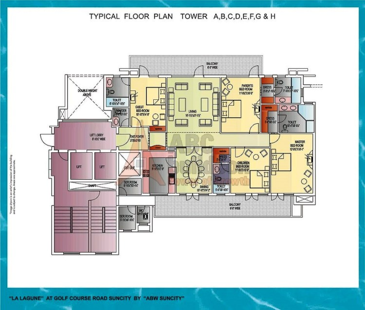 Suncity La Lagune Floor Plan 4 BHK + S.R – 3160 Sq. Ft.