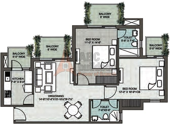 Supertech Araville Floor Plan 2 BHK – 1295 Sq. Ft.
