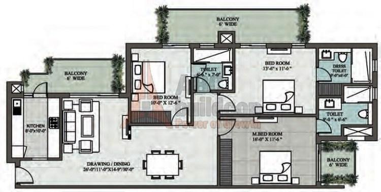 Supertech Araville Floor Plan 3 BHK – 1945 Sq. Ft.
