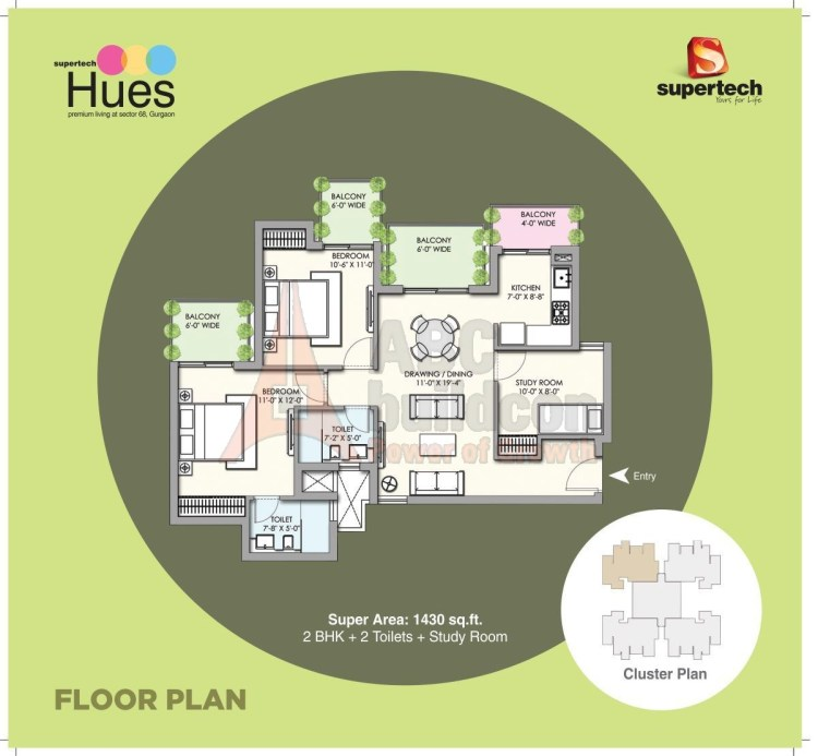Supertech Hues Floor Plan 2 BHK + Study – 1430 Sq. Ft.