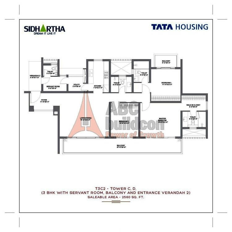 TATA Gurgaon Gateway Floor Plan 3 BHK + S.R + Utility – 2560 Sq. Ft.