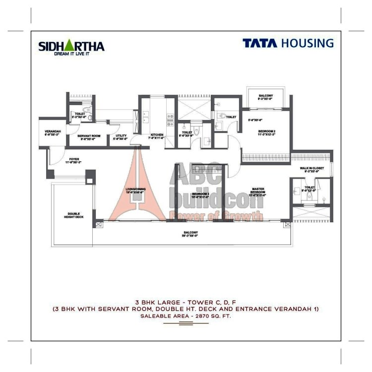 TATA Gurgaon Gateway Floor Plan 3 BHK + S.R + Utility – 2870 Sq. Ft.