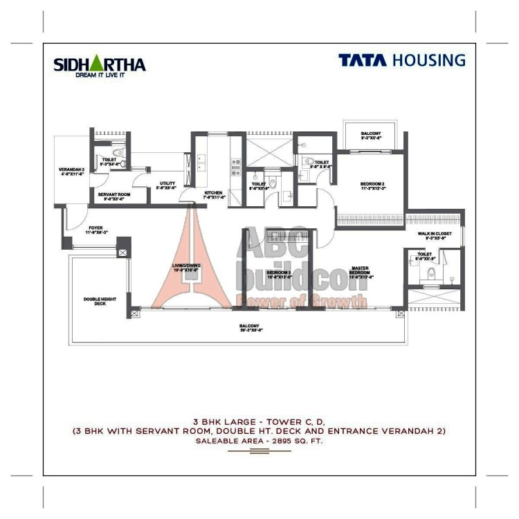 TATA Gurgaon Gateway Floor Plan 3 BHK + S.R + Utility – 2895 Sq. Ft.
