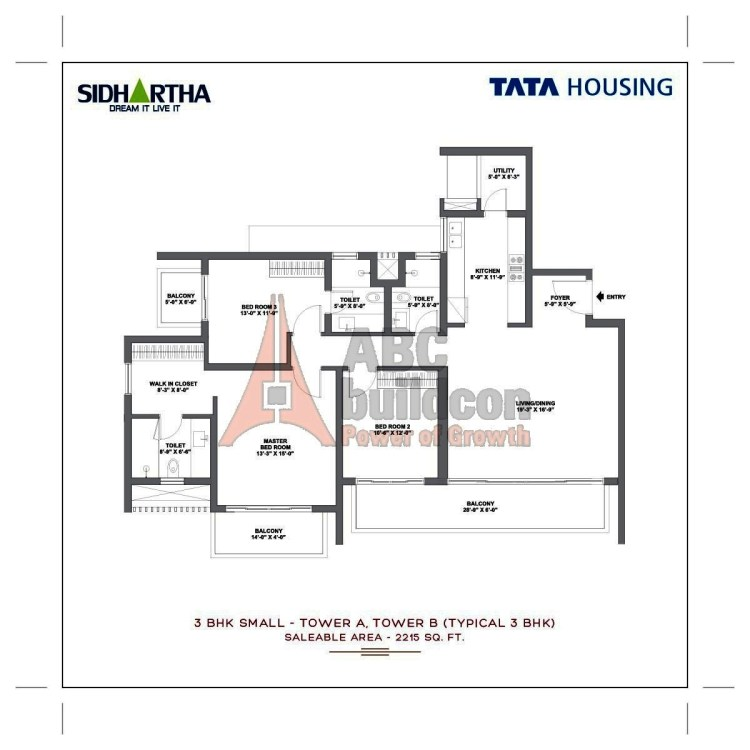 TATA Gurgaon Gateway Floor Plan 3 BHK + Utility – 2215 Sq. Ft.