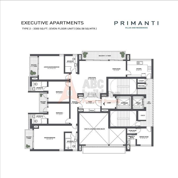 TATA Primanti Floor Plan 4 BHK + S.R + Store – 3300 Sq. Ft.