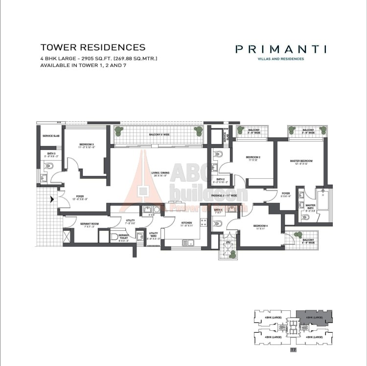 TATA Primanti Floor Plan 4 BHK + S.R + Utility – 2905 Sq. Ft.